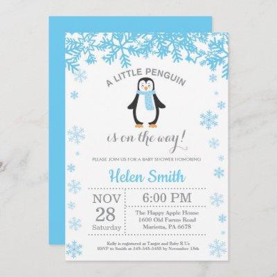 Penguin Winter Boy Baby Shower Snowflake Invitation