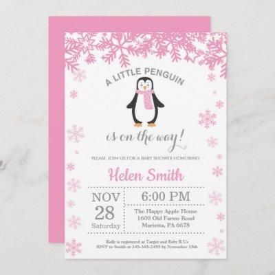 Penguin Winter Girl Baby Shower Snowflake Invitation