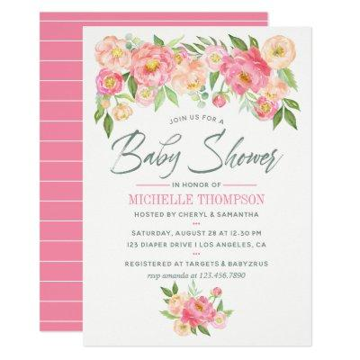Peony flowers Spring Baby Shower invitation
