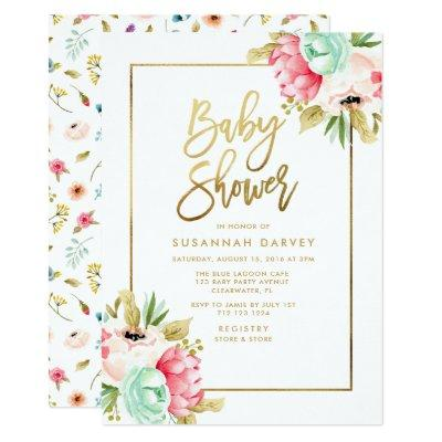 Peony Pastel Watercolors Gold Script Baby Shower Invitations