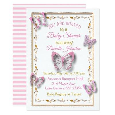 Personalized Baby Girl Butterfly Baby Shower Invitation
