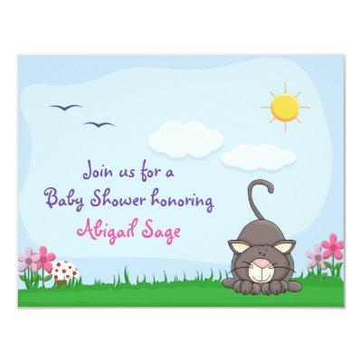 Personalized Cute Kitty Cat Baby Shower Invitations