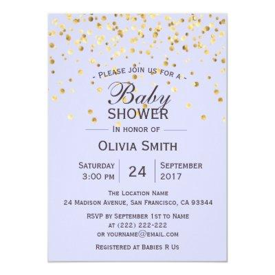 Personalized Lavender Gold Baby Shower Invites