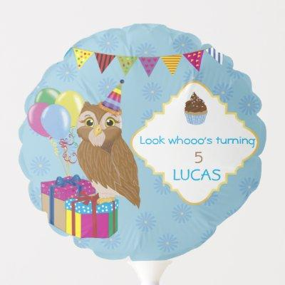 Personalized Owl Themed Birthday Balloon