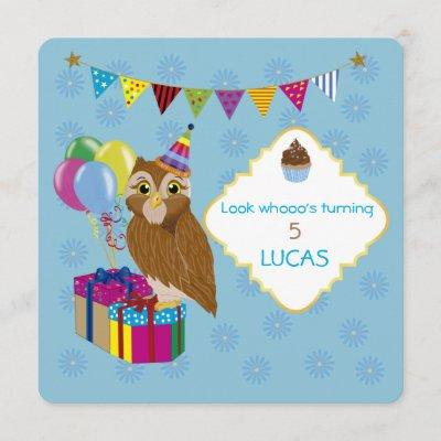 Personalized Owl Themed Birthday Party Invitation