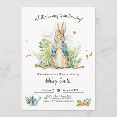 Peter Rabbit Baby Shower Invite Boy Blue Bunny