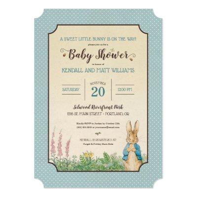 Vintage blue baby shower invitations baby shower invitations baby peter rabbit boy filmwisefo