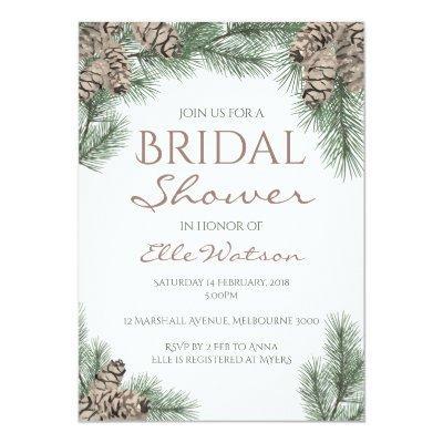 Pine Cone Bridal Shower Invitation, Winter Wedding Invitations
