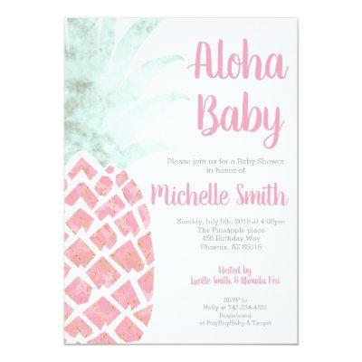 Pineapple Aloha Summer Tropical Fruit Baby Shower Invitation