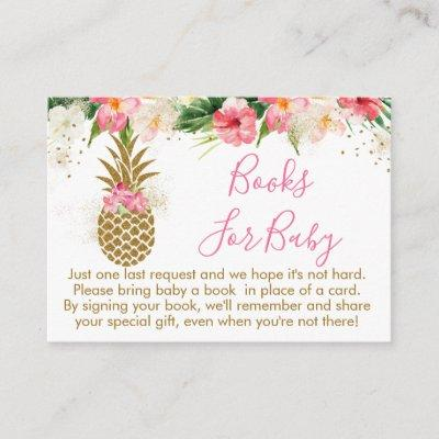 Pineapple Tropical Floral Baby Shower Book Request Enclosure Card