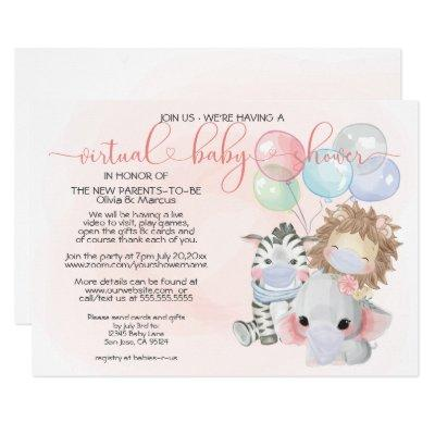 Pink 3 Cute Animals in Masks Virtual Baby Shower Invitation