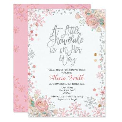 Pink A Little Snowflake is on Her Way Baby Shower Invitation
