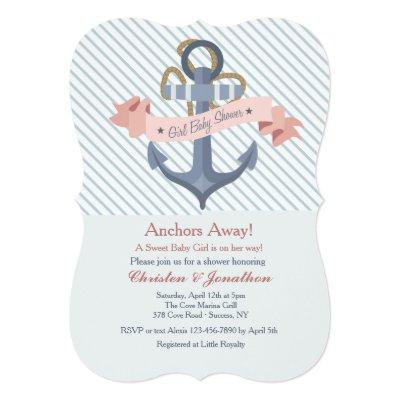 Pink Anchor Banner Baby Shower Invitations