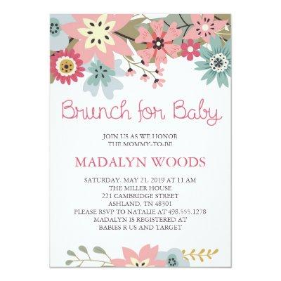 Pink and Blue Floral Brunch for Baby Invitation
