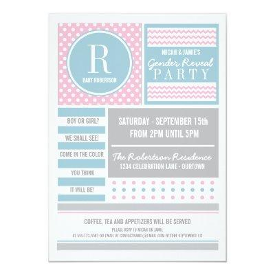 Pink and Blue Gender Reveal Party Invitations