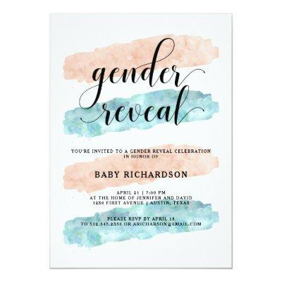 Pink and Blue Watercolor | Gender Reveal Party Invitations