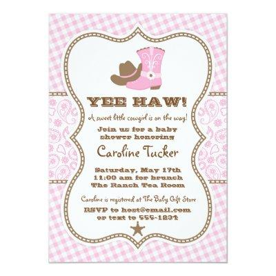 Pink Cowgirl Baby Shower Invitation Baby Shower Invitations Baby