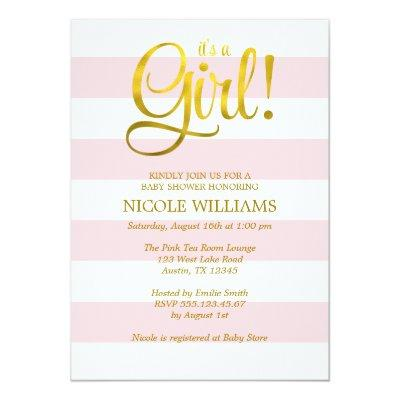 Pink and Faux Gold Stripes Girl Baby Shower Invitations