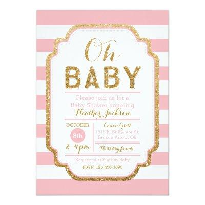 Pink And Gold , Baby Girl Invitations