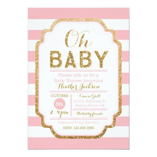 Pink And Gold Baby Shower Invitation, Baby Girl Invitations