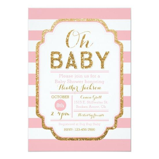 Pink and gold baby shower invitation baby girl card baby shower pink and gold baby shower invitation baby girl card filmwisefo