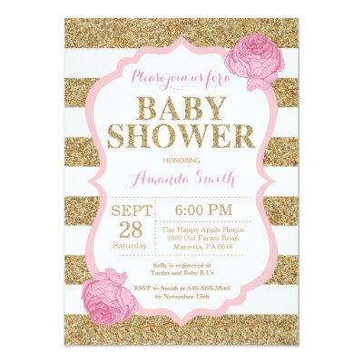 Pink and Gold Baby Shower Invitations Glitter