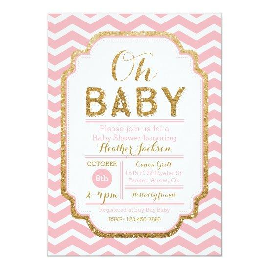 Pink And Gold Baby Shower Invitations, Baby Girl Card