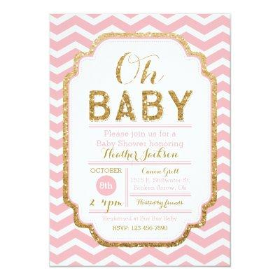 Pink And Gold Baby Shower Invitations, Baby Girl Invitation