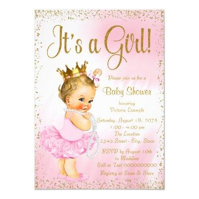 Pink and Gold Ballerina Tutu Pearl Baby Shower Invitation
