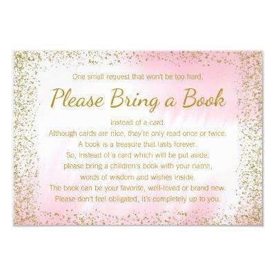 Pink and Gold Bring a Book Invitations