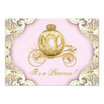 Pink and Gold Carriage Royal Princess Invitations