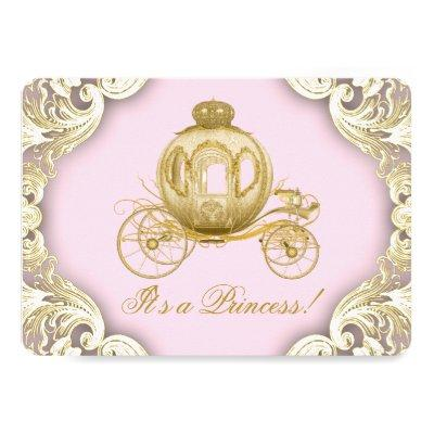 Pink and Gold Carriage Royal Princess Baby Shower Invitations