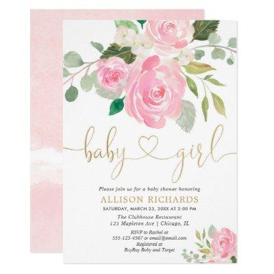 Pink and gold elegant rose floral girl baby shower invitation