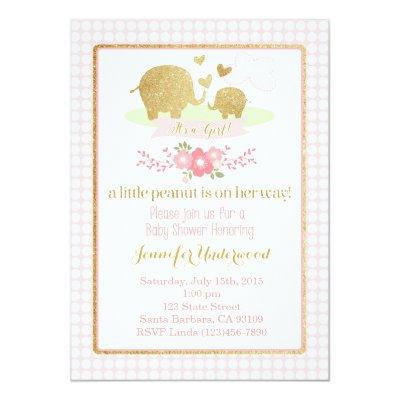 Pink and Gold Elephant Invitations