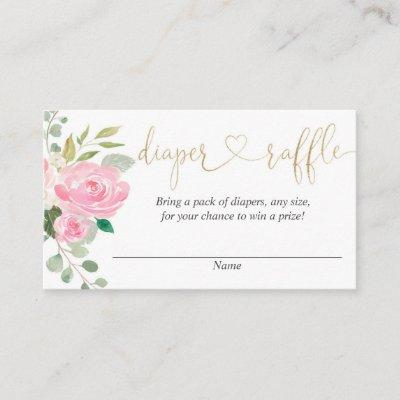 Pink and gold floral diaper raffle cards