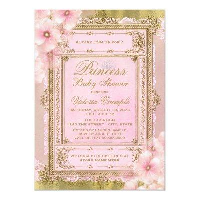 Pink and Gold Foil Princess Baby Shower Invitation