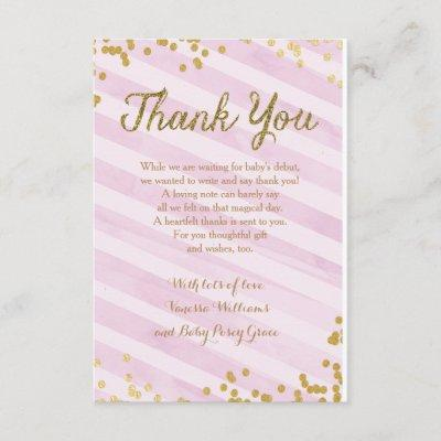 Pink and Gold Girl Baby Sprinkle Shower Thank you Invitation