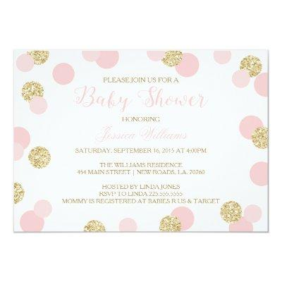 Pink and Gold Glitter Invitations