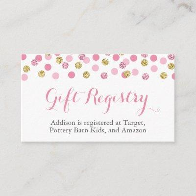 Pink and Gold Glitter Gift Registry Insert Cards