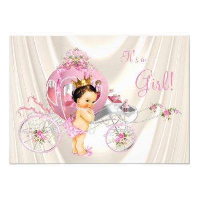 Pink and Gold Pearl Princess Baby Shower Invitation