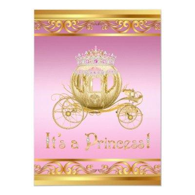 Pink and Gold Princess Baby Shower Invitations