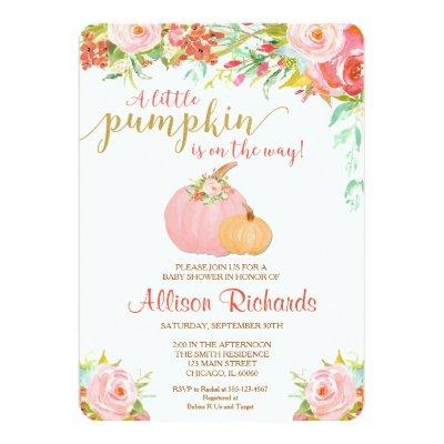 pink and gold pumpkin , fall Invitations