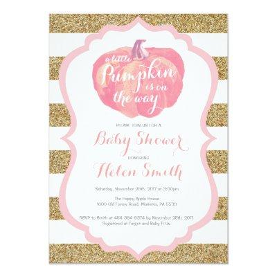 Pink and Gold Pumpkin Girl Baby Shower Invitation