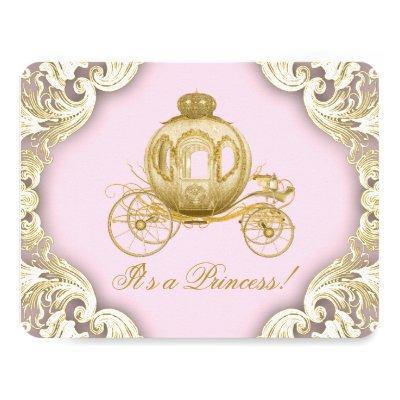 Pink and Gold Royal Princess Baby Shower Invitations