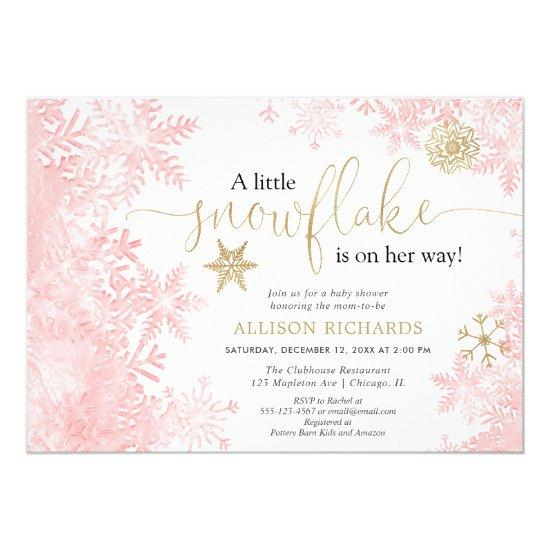 Pink and gold snowflake winter girl baby shower invitation