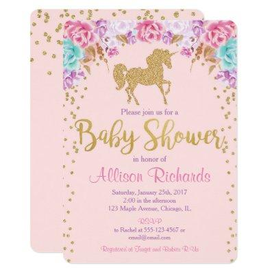 Pink and gold Unicorn baby shower invitation