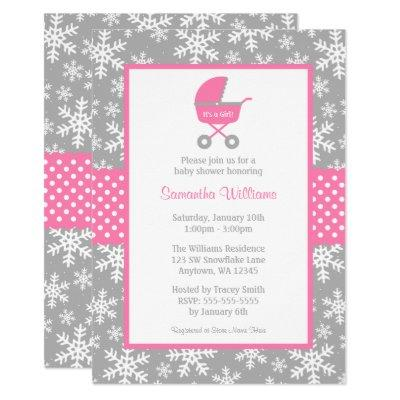 Pink and Gray Carriage Snowflakes Baby Shower Invitation