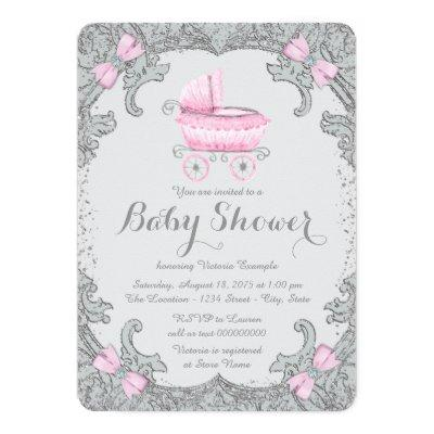 Pink and Gray Glitter Carriage Baby Shower Invitation