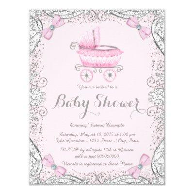 Pink and Gray Glitter Pram Baby Shower Invitation