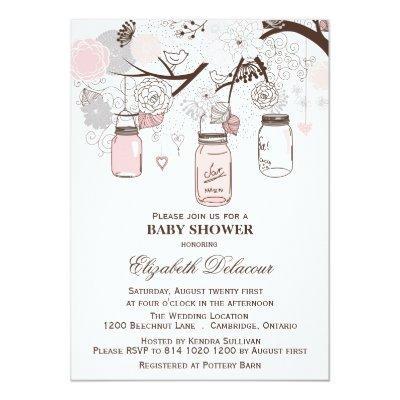 Pink and Gray Mason Jars Invitations